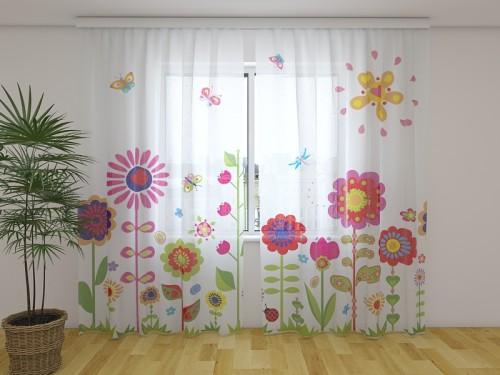 """Dieninė užuolaida vaikiška""""Gėlės ir saulė"""""""