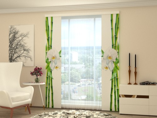 """Lango širma """"Bambukas ir orchidėja"""""""