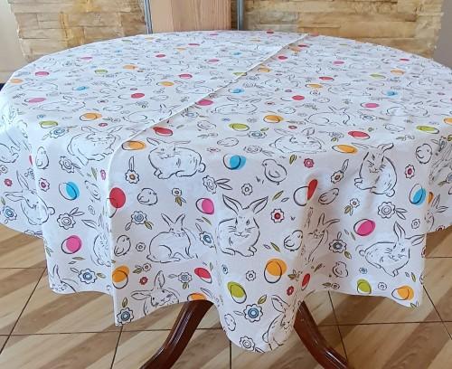 """Velykinė staltiesė medvilninė """"Zuikiai"""""""