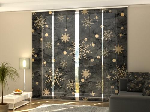 """Kalėdinė lango širma iš 4 dalių """"Auksinės snaigės"""""""