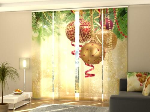 """Kalėdinė lango širma iš 4 dalių """"Auksinis spindesys"""""""