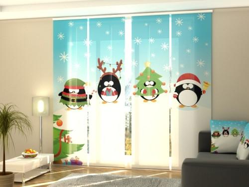 """Kalėdinė lango širma iš 4 dalių """"Kalėdiniai pingvinai"""""""