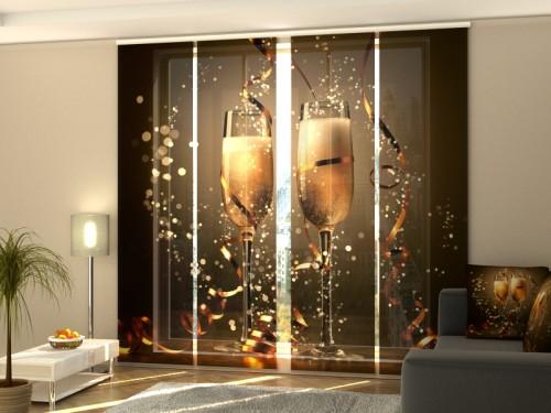"""Kalėdinė lango širma iš 4 dalių """"Kalėdinis šampanas"""""""