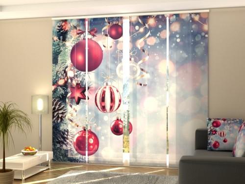 """Kalėdinė lango širma iš 4 dalių """"Nuostabūs kalėdiniai žaisliukai"""""""