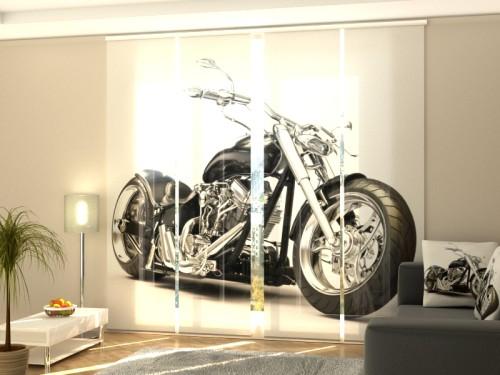 """Lango širma iš 4 dalių """"Juodas motociklas"""""""