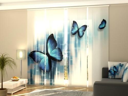 """Lango širma iš 4 dalių """"Mėlyni drugeliai"""""""