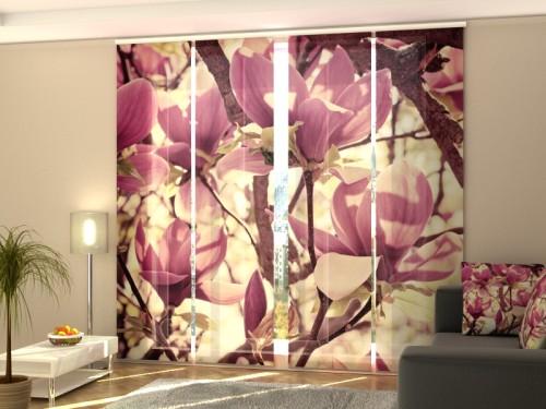 """Lango širma iš 4 dalių """"Rožinės magnolijos"""""""